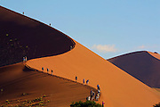 NAMIBIA, NAMIB DESERT..Namib Naukluft Park. Tourists climbing the dune overlooking Sossusvlei (a dry pan)..(Photo by Heimo Aga)