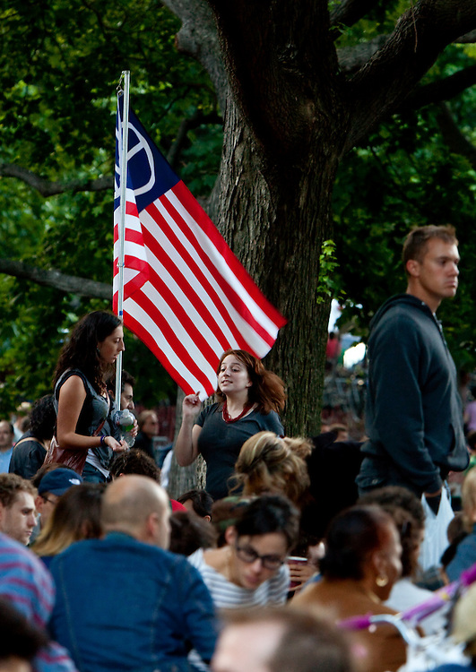 The crowd in Prospect Park, at a David Bryne Concert. He was formerly of the Talking Heads rock group.