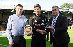 Ashley Lyne, Vanarama rep with Bristol Rovers Manager, Darrell Clarke and Nick Higgs - Photo mandatory by-line: Neil Brookman - Mobile: 07966 386802 - 04/10/2014 - SPORT - Football - Bristol - Memorial Stadium - Bristol Rovers v Dover - Vanarama Football Conference