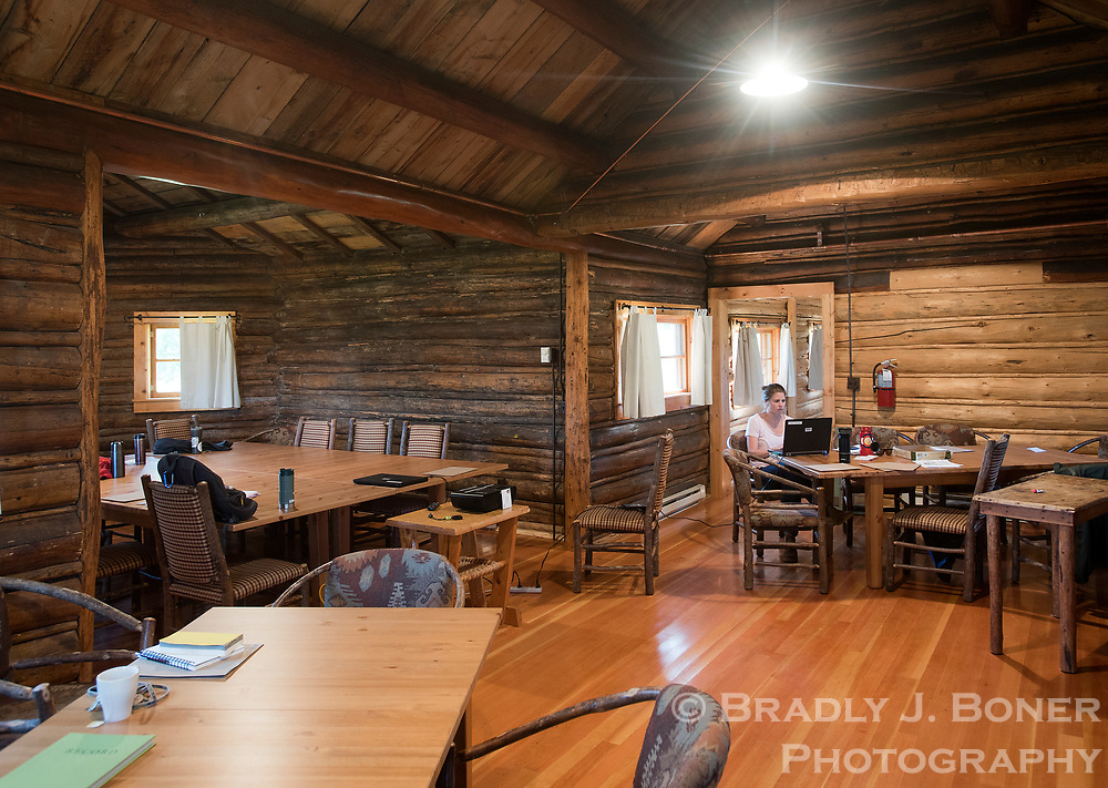 The large, vaulted room in the main building at the White Grass Ranch served primarily as the community dining area, but today is also a classroom space for the Historic Preservation Workshops.