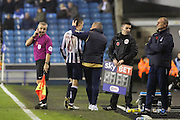 Millwall midfielder Shaun Williams (6) getting subbed during the EFL Sky Bet League 1 match between Millwall and Bristol Rovers at The Den, London, England on 12 November 2016. Photo by Matthew Redman.