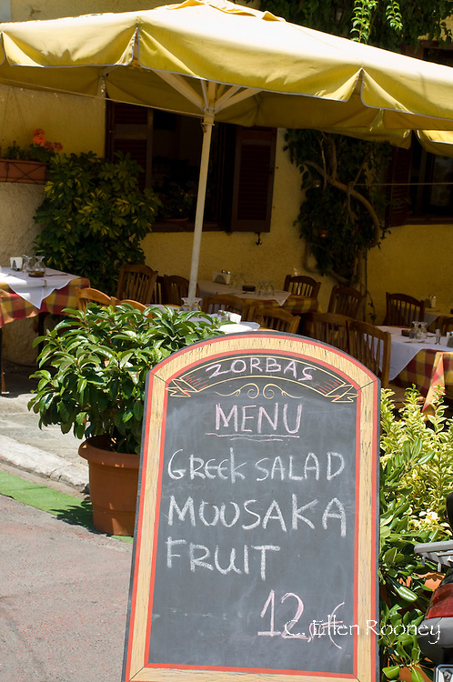 A taverna sign in The Plaka, Athens, Greece