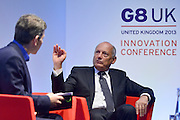 © Licensed to London News Pictures. 14/06/2013. London, UK Ron Dennis , Chairman of McLaren Group and McLaren Automotive attends G8 Innovation Conference at the Siemens Crystal Building in London today 14th June 2013. As part of UK's G8 Presidency, the G8 Innovation Conference brings together 300 leading international entrepreneurs, researchers, scientists, designers and policy makers. Photo credit : Stephen Simpson/LNP