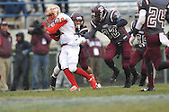 Lafayette High's Devon Thomas (18) runs vs. Forrest County AHS' Peyton Todd (3) and Forrest County AHS' Dontavian Lee (32) in the MHSAA Class 4A championship game at Mississippi Veterans Memorial Stadium in Jackson, Miss. on Saturday, December 7, 2013. Forrest County AHS won 21-6.
