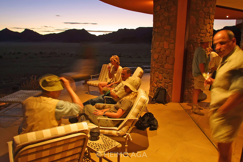 "CC Africa Afro Ventures' luxurious ""Andersson's Africa"" Safari. Sundowner at CC Africa's Sossusvlei Mountain Lodge."