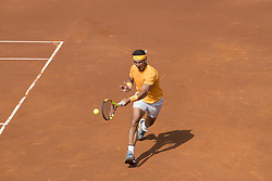 April 28, 2018 - Barcelona, Barcelona, Spain - RAFAEL NADAL reaches for the ball during the semifinal against DAVID GOFFIN in the Barcelona Open Banc Sabadell 2018. RAFAEL NADAL won the match 6-4 6-0. (Credit Image: © Patricia Rodrigues/via ZUMA Wire via ZUMA Wire)