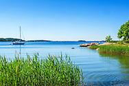 Vik med vass och bad vid klippa på Grinda i Stockholms skärgård.