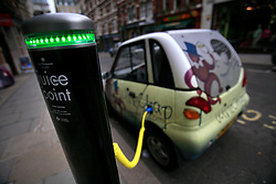 UK ENGLAND LONDON 12MAY10 - Electric Vehicle charging point in Covent Garden, central London. The points are supplied by Westminster City Council and have joined 48 free charging stations to be found in 13 of the council's car parks...Electric vehicles are different from fossil fuel-powered vehicles in that they can receive their power from a wide range of sources, including fossil fuels, nuclear power, and renewable sources such as tidal power, solar power, and wind power or any combination of those...jre/Photo by Jiri Rezac..© Jiri Rezac 2010