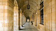 SANTIAGO DE COMPOSTELA, SPAIN - 15th October 2017 - Line of arches architecture featured on the exterior of the town hall in Praza do Obradoiro square Santiago de Compostela, Galicia, Spain.