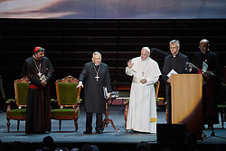 October 31, 2016 - Malm√, Sweden - Cardinal Kurt Koch, Bishop Munib A. Younan, President of Lutheran World Federation, Pope Francis,  and  and Rev. Martin Junge, General Secretary of LWF are seen on stage during the 'Together in Hope' event at Malmo Arena on October 31, 2016 in Malmo, Sweden. The Pope is on 2 days visit attending Catholic-Lutheran Commemoration in Lund and Malmo.  (Credit Image: © Aftonbladet/IBL via ZUMA Wire)