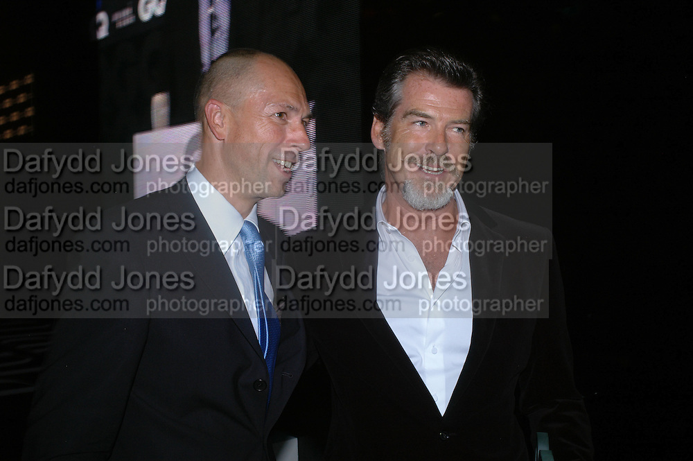 Dylan Jones and Pierce Brosnan. GQ Men Of The Year Awards at the Royal Opera House, London. September 6, 2005 in London, England, ONE TIME USE ONLY - DO NOT ARCHIVE  © Copyright Photograph by Dafydd Jones 66 Stockwell Park Rd. London SW9 0DA Tel 020 7733 0108 www.dafjones.com