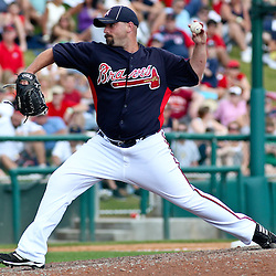 March 16, 2011; Lake Buena Vista, FL, USA; Atlanta Braves starting pitcher Tommy Hanson (48) during a spring training exhibition game Boston Red Sox at the Disney Wide World of Sports complex.  Mandatory Credit: Derick E. Hingle