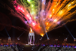 March 9, 2018 - Pyeongchang, South Korea - Fireworks explode as the Cauldron is lit during Opening Ceremony for the 2018 Pyeongchang Winter Paralympic Games March 9, 2018. Photo by Mark Reis (Credit Image: © Mark Reis via ZUMA Wire)