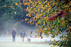 © Licensed to London News Pictures. 02/11/2016<br /> Frosty Autumn Morning Kent. <br /> A cold and frosty morning with some mist in Kent at Footscray Cray, Meadows,Sidcup.