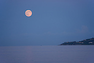 Full moon over the sea near St.Tropez,French Riviera, France,