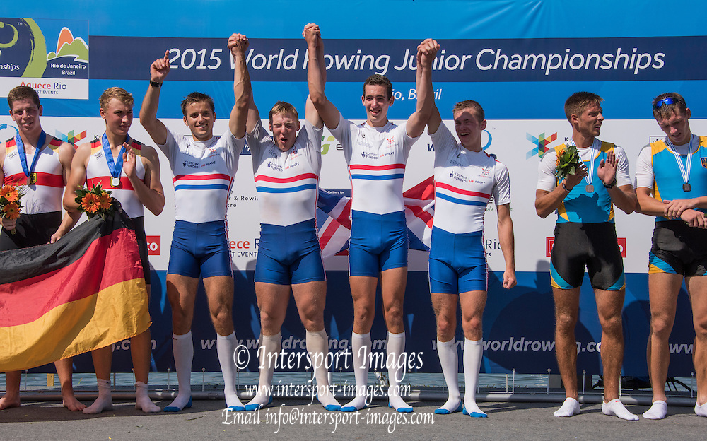 Rio de Janeiro. BRAZIL. centre Gold medalist GBRJM4X, Gavin HORSBURGH, Josh ARMSTRONG, Samuel MEIJER, Chris LAWRIE, 2015 FISA Junior World Rowing Championships, venue. Lagoa Rodrigo de Freitas, 12:07:03  Saturday  08/08/2015   [Mandatory Credit. Karon PHILLIPS/ Intersport Images].
