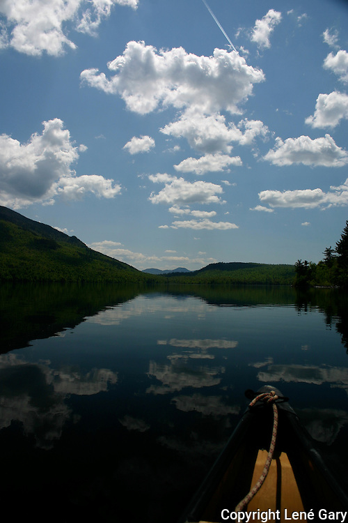 In the canoe in the Adirondack Mountains of New York in June