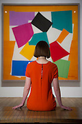 "The Snail. Tate Modern's new exhibition, Henri Matisse: The Cut-Outs, is devoted to the artist's paper cut-outs made between 1943 and 1954. It brings together around 120 works, many seen together for the first time, in a ""groundbreaking"" reassessment of Matisse's colourful and innovative final works. The exhibition opens at Tate Modern on 17 April 2014. They were collected together in Jazz 1947 (Pompidou, Paris), a book of 20 plates. And this will be the first time that the maquettes and the book have been shown together outside of France. Other major cut-outs in the exhibition include Tate's The Snail 1953, its sister work Memory of Oceania 1953 and Large Composition with Masks 1953. The show also includes the largest number of Matisse's Blue Nudes ever exhibited together, including the most significant of the group Blue Nude I 1952. Tate Britain, London, UK."