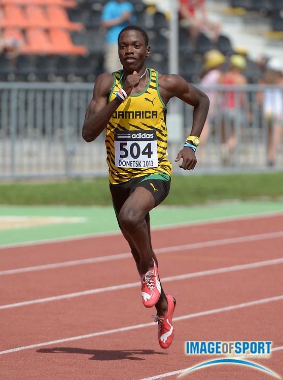 Jul 10, 2013; Donetsk, UKRAINE; Devaughn Baker (JAM) wins 400m heat in 47.58 in the 2013 IAAF World Youth Championships at Olimpiyskyi Stadium.
