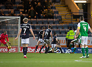 24th January 2018, Dens Park, Dundee, Scottish Premiership, Dundee versus Hibernian; Hibernian's John McGinn scores for 1-0