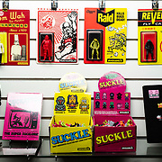 October 22, 2018 - New York, NY : The artist Morgan Phillips, who goes by Sucklord, creates 'bootleg' action figures -- a genre of mashup figurines that straddle the line between toys and art -- in his Canal Street studio in lower Manhattan. Sucklord incorporates pop culture and brands into his packaging and character mashups. CREDIT: Karsten Moran for The New York Times