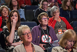 © Licensed to London News Pictures . 21/09/2014 . Manchester , UK . Delegate wearing no to TTIP tshirt ( Transatlantic Trade and Investment Partnership ) at the Labour Party Conference in Manchester this afternoon (21st September 2014) . 2014 Labour Party Conference . Photo credit : Joel Goodman/LNP