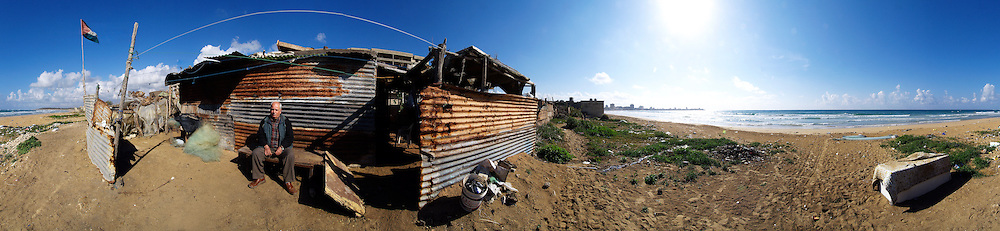 A palestinian refugee by his house in a camp near Tyre, Lebanon.