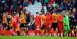 LIVERPOOL, ENGLAND - Saturday, January 28, 2017: Liverpool's Ben Woodburn and Joe Gomez look dejected after losing 2-1 to Wolverhampton Wanderers during the FA Cup 4th Round match at Anfield. (Pic by David Rawcliffe/Propaganda)