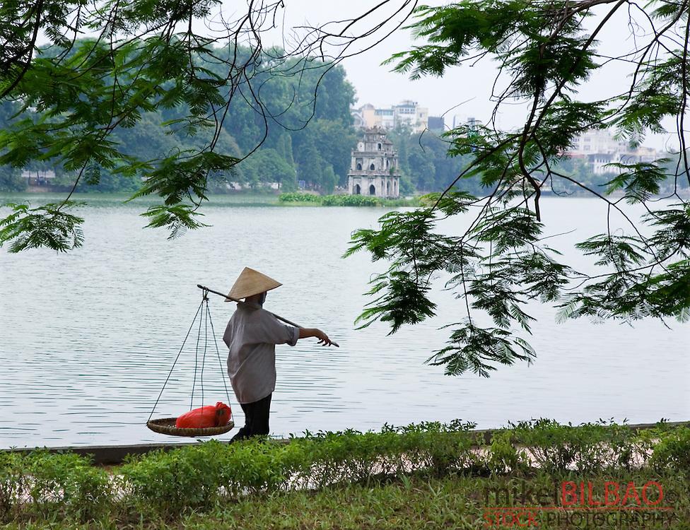 Turtle tower in Hoan Kiem Lake.<br /> Hanoi, Vietnam.