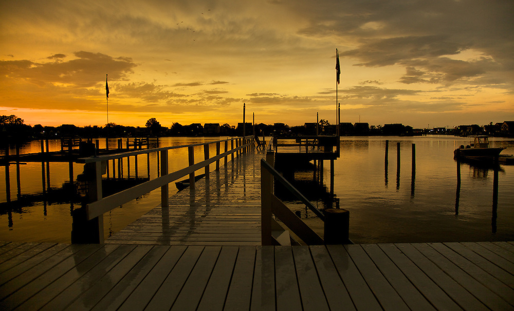 A beautiful sunset shot from a beach house dock in Point Pleasant, NJ