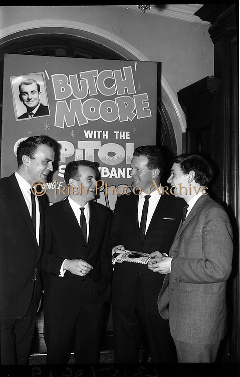 03/02/1964<br /> 02/03/1964<br /> 03 February 1964 <br /> Capitol Show Band and Pye Records reception for single 'Foolin' Time' at Country Club Portmarnock. Eamon Monaghan; Butch Moore; Jim Doherty and Phil Coulter, with the poster for the single 'Foolin' Time'.