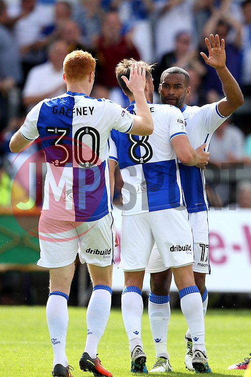Jermaine Easter of Bristol Rovers celebrates with teammates after scoring a goal - Mandatory by-line: Robbie Stephenson/JMP - 14/08/2016 - FOOTBALL - Memorial Stadium - Bristol, England - Bristol Rovers v Oxford United - Sky Bet League One