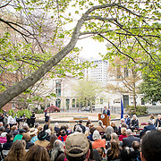 Virginia Governor Ralph Northam speaks during the dedication ceremony for Mantle: Virginia Indian Tribute, a monument designed on Virginia State Capitol Square, in Richmond, Virginia, on Tuesday, April 17, 2018. John Boal Photography