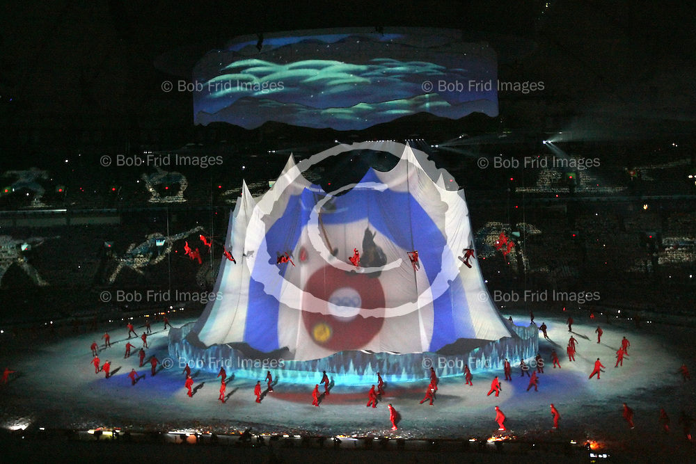 12 February 2010:  The Opening Ceremony of the XXI Olympic Winter Games, the Vancouver 2010 Winter Olympics, held in BC Place Stadium  in Vancouver,  British Columbia, Canada..