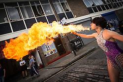 A fire blower in a street.