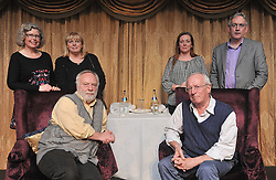 Pictured are Lesley Emerson, Ursula Skerritt, Maria Ruddy and Austin Vaughan organisers of the Rolling Sun Book Festival in Westport with Brian Keenan and Robert Fisk at Hotel Westport on saturday night last.<br /> Pic Conor McKeown