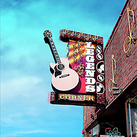 Street signage with guitar in USA