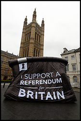 A blow up Ballot box with a I Support A  Referendum for Britain slogan on it in Westminster, London, United Kingdom. Wednesday, 6th November 2013. Picture by Andrew Parsons / i-Images