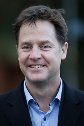 © Licensed to London News Pictures . 13/01/2015 . Stockport , UK . Deputy Prime Minister NICK CLEGG meets residents of Hazel Grove and Lib Dem PPC Lisa Smart , who is standing in place of outgoing Lib Dem MP for Hazel Grove , Andrew Stunell . Photo credit : Joel Goodman/LNP