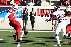 05 December 2015:  Reece Attard(88). NCAA FCS Round 2 Football Playoff game between Western Illinois Leathernecks and Illinois State Redbirds at Hancock Stadium in Normal IL (Photo by Alan Look)