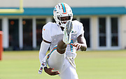 Miami Dolphins wide receiver DeVante Parker (11) stretches before practice during Minicamp at the Baptist Health Training Facility at Nova Southeastern University, Tuesday, August 6, 2019, in Davie, Fla. (Kim Hukari/Image of Sport)