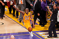 17 June 2010:  Guard Kobe Bryant of Los Angeles Lakers celebrates after the Lakers defeat the Boston Celtics 83-79 and win the NBA championship in Game 7 of the NBA Finals at the STAPLES Center in Los Angeles, CA.