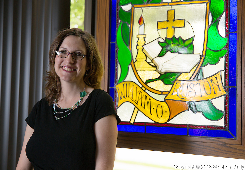 "Dr. Elesha Coffman, Assistant Professor of Church History and author of ""The Christian Century and the Rise of the Protestant Mainline"" in the Blades Hall chapel on the campus of the University of Dubuque Theological Seminary in Dubuque, Iowa on Wednesday, June 12, 2013."