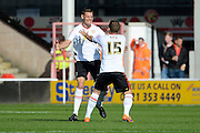 Crewe Alexandra defender Ben Nugent celebrates scoring the equalising goal during the Sky Bet League 1 match between Walsall and Crewe Alexandra at the Banks's Stadium, Walsall, England on 26 September 2015. Photo by Alan Franklin.