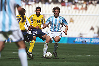 Gabriel Heinze (Argentina) who has recently signed for Manchester United.Mens Football Final. Argentina v Paraguay.28/8/2004.Athens Olympics 2004.Credit : Colorsport/Andew Cowie