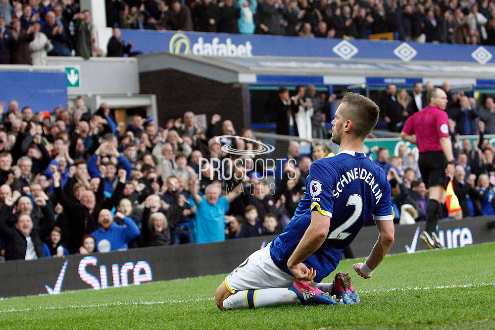 Everton's Morgan Schneiderlin (2) celebrates Everton's second goal 2-0 during the Premier League match between Everton and West Bromwich Albion at Goodison Park, Liverpool, England on 11 March 2017. Photo by Craig Galloway.