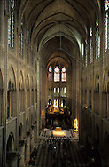 France. Paris. Notre Dame cathedral. inside Notre dame cathedral, view from the orgue gallery<br />   Interior of Notre Dame Cathedral