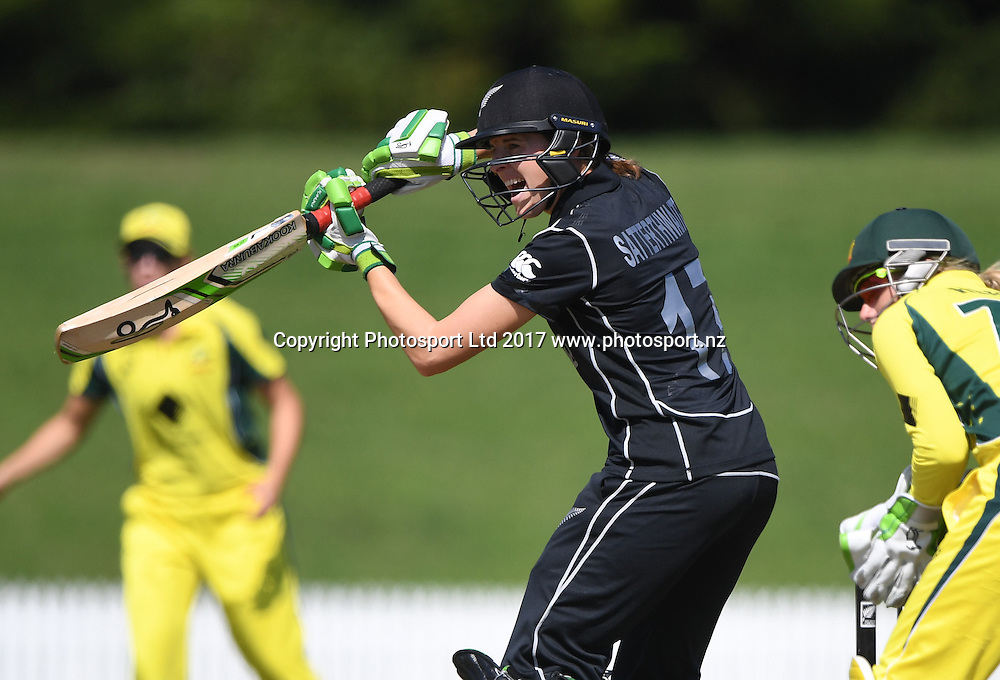 Amy Satterthwaite batting.<br /> New Zealand White Ferns v Australia Southern Stars. International one day cricket. Bay Oval, Mt Maunganui, New Zealand. Thursday 2 March 2017. &copy; Copyright photo: Andrew Cornaga / www.Photosport.nz