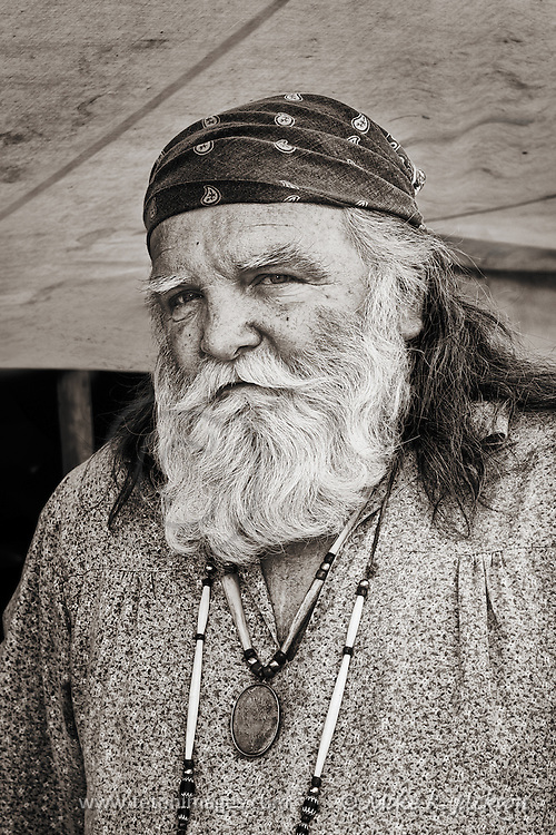 Portrait of one of the Mountain Men at one of Wyoming's annual Mountain Rendezvous.