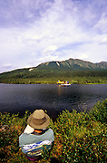 Waiting for a float plane at Vet Lake in the Alaska bush country. Central Brooks Range north of Bettles, Alaska